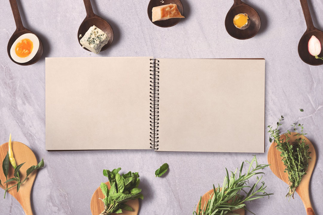 Notebook Surrounded by food